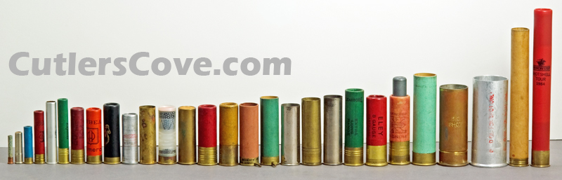 Photo showing most gauges of shotshells